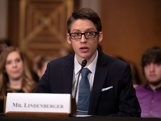 Ethan Lindenberger testifies during a United States Senate Committee on Health, Education, Labor and Pensions Committee hearing on Capitol Hill in Washington, D.C., March 5, 2019.