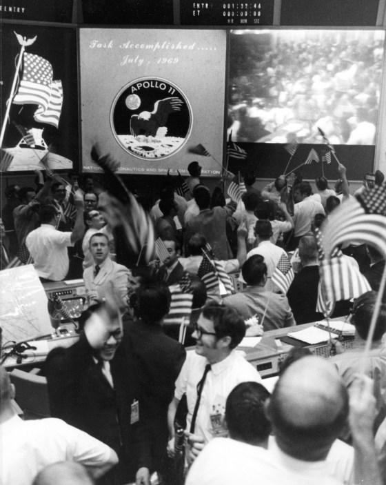 Mission Control Celebrates the Conclusion of the Apollo 11 Lunar Landing Mission
