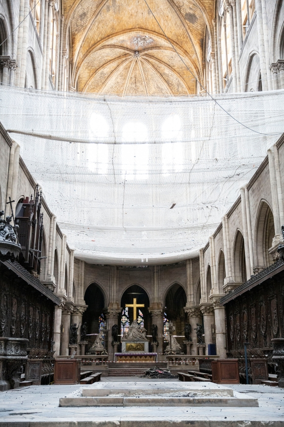 Netting installed to catch falling debris inside Notre Dame on July 11, 2019.