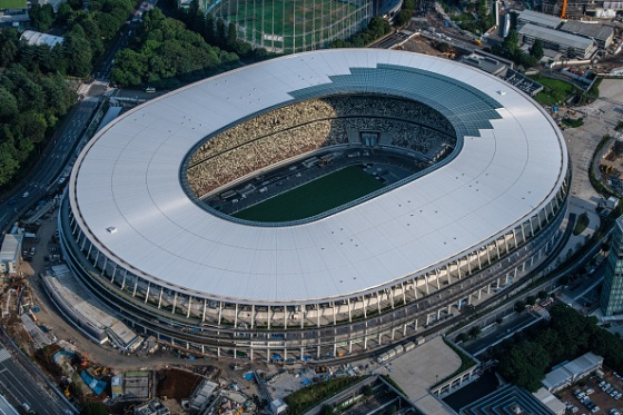 The New National Stadium, the main stadium for the Tokyo 2020 Olympics, is pictured on July 24, 2019 in Tokyo, Japan.