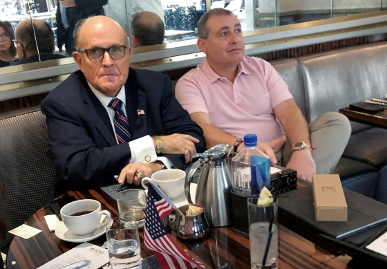 Rudy Giuliani has coffee with Russian born businessman Parnas at Trump Hotel